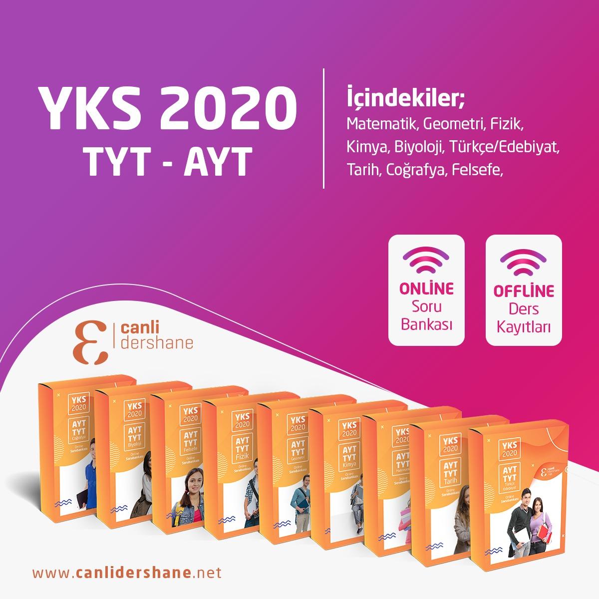 YKS (TYT AYT) Tüm Dersler  Online Sorubankası YKS 2020